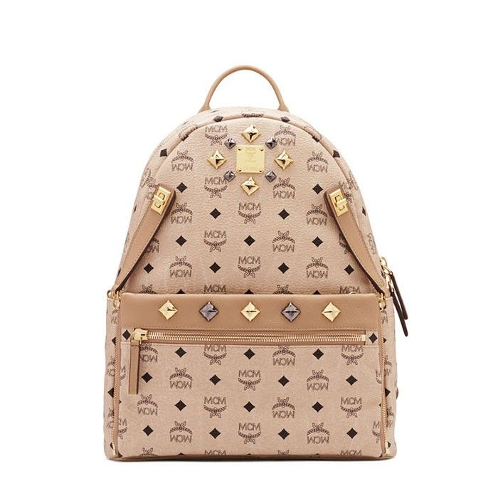 MCM Medium Dual Stark Backpack In Beige
