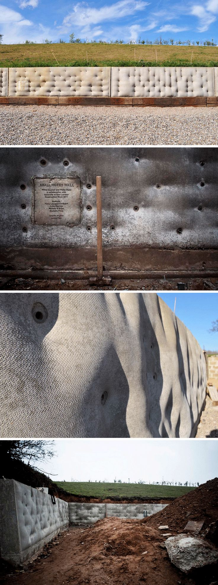 """This is the UK's longest """"fabric formwork wall"""" at 31.7 meters. It is made up of 7 casts (each weighing around 6 tons). This retaining wall was designed by Wilf Meynell created with support from the University of East London. #concrete #texture #fabric"""