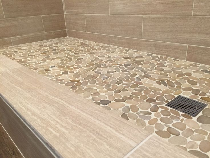 Master Bath: Pale Pebble Tile Shower Floor, Natural/ Neutral Shower Wall  Tile   Either Stone Or Wood Look   In Similar, Low Contrast Color.
