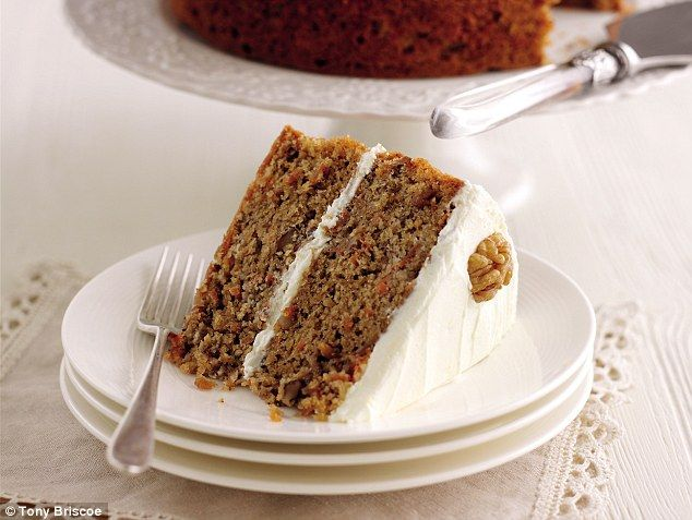 Mary Berry's Carrot and Walnut Cake with Cream Cheese Icing | recipe via Daily Mail Online ~ *Note: This version from the book 'Mary Berry's Cookery Course' uses ground ginger & mixed spices in the sponge, no banana.