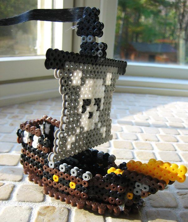 3D Perler Bead Pirate Ship - Creative Perler Beads Ideas, http://hative.com/creative-perler-beads-ideas/,