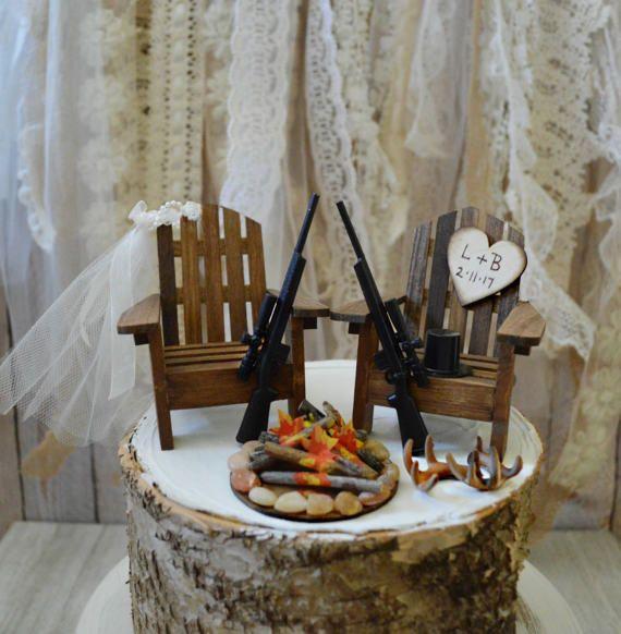 deer hunting gun wedding cake topper hunting bride groom shot