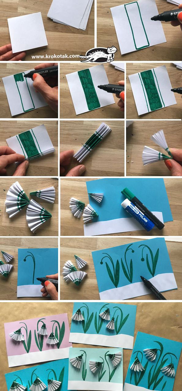 Paper Snowdrops Children Activity Crafts Art Drawings For Kids