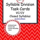 This product contains 40 task cards of two-syllable words that contain closed syllables and follow the VC/CV pattern.  Students use Orton-Gillingham methods to divide the words.  Use these cards as you teach syllable division or in a literacy center for extra practice.