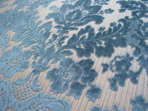 Vintage Cut Velvet Upholstery Fabric Blue Damask