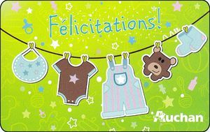 """Félicitations!"" Auchan Gift Card from France. Now on the Colnect catalog @Gail Regan Truax://colnect.com/gift_cards"