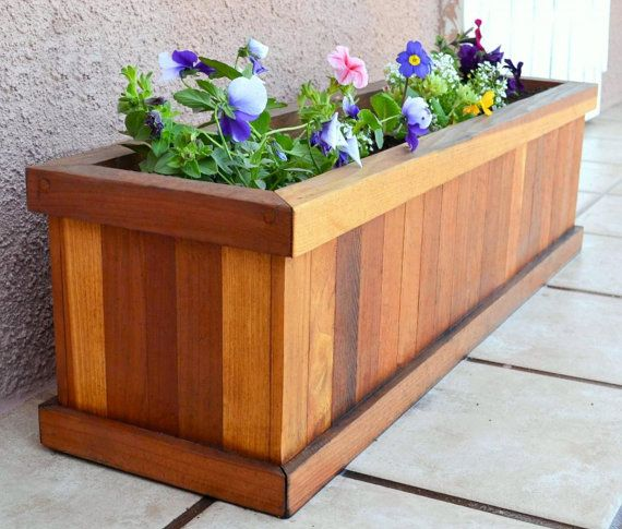 Redwood Flower Planter Box for Windows, Balconies or Decks. Rot resistant