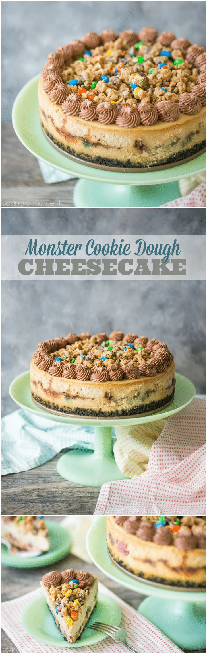 Monster Cookie Dough Cheesecake: OMG this dessert is completely over-the-top! Peanut butter cheesecake with hunks of peanut butter oatmeal m&m cookie dough, on an Oreo cookie crust, with more cookie dough on top and swirls of chocolate whipped cream. Such an incredible indulgence! food desserts cheesecake via @bakingamoment