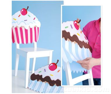 Need to sweeten up your chairs for special event?  Maybe a birthday or book club, our Cupcake Chair Cover makes any occasion super sweet!  They come in pink or blue, so pick your favorite or mix them up!  They make your mouth water just looking at the sprinkles and the cherry on top.  Everyone loves cupcakes!  Measures 22 inches long x 20 inches wide.  Felt. One.