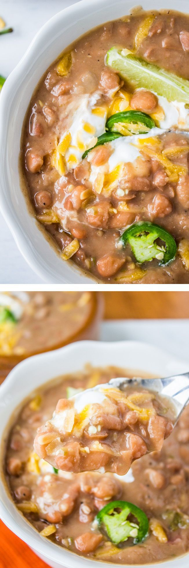 Traditional Tejano Pinto Beans (Slow Cooker) // from The Food Charlatan. These Texas beans are cooked with ham bone and jalapeno for a Mexican twist! Perfect side dish and so easy.