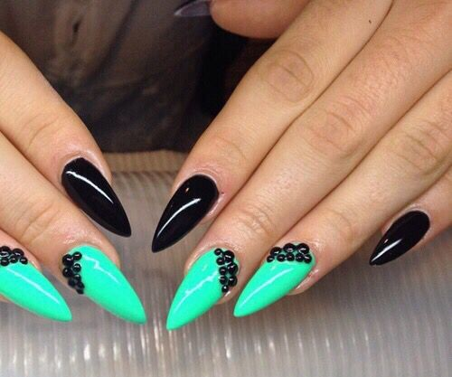 Black Pointed Nails 1000+ images ab...
