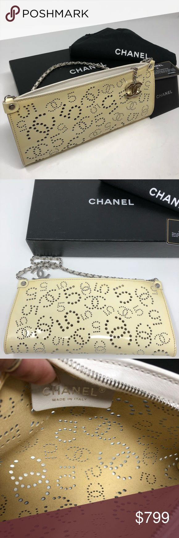 CHANEL |RARE| CREAM CLUTCH HANDBAG RARE- Timeless perforated cream handbag with removable straps to use are a clutch. Removable straps have leather weaved throughout a silver chain. Nice weight. Lobster clasp attachment. Bag has perforated 5's and CC's throughout. Internal bag is clean. External bag has a nic. Purchase comes with authentication, box, dust bag, CoCo Chanel Sticker and History. Authentication card and box. CHANEL Bags