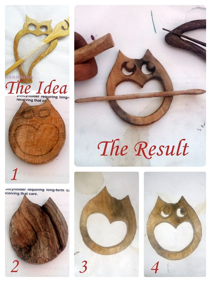 Wooden Owl Shawl pin steps collage Charlene
