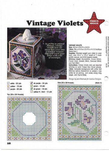 Vintage Violets Tissue Box Cover