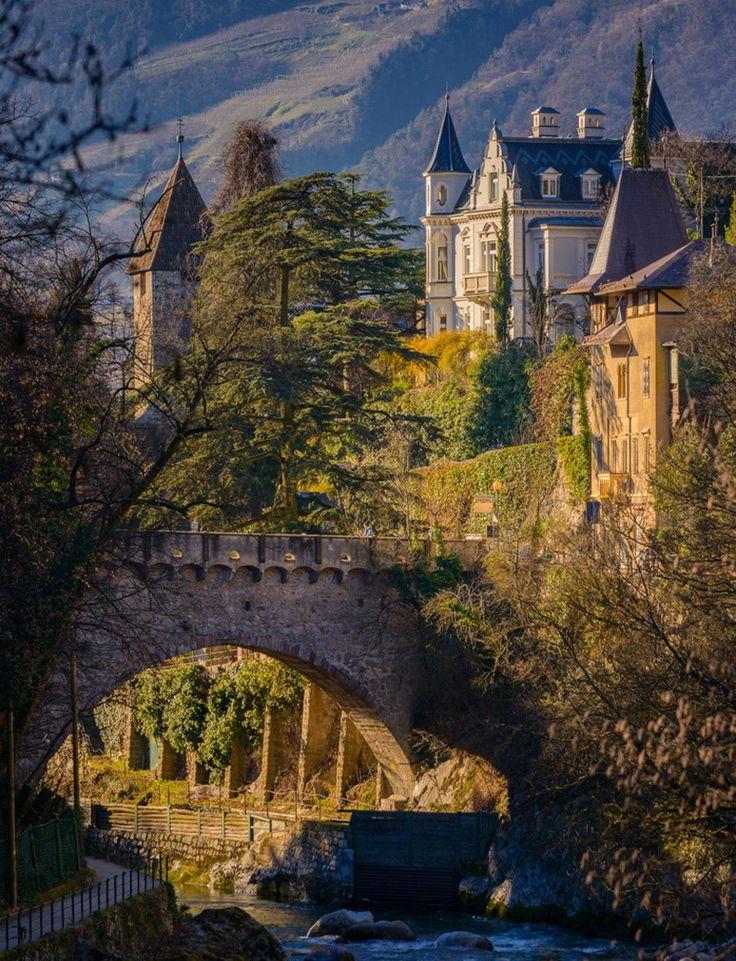 Old bridge and castle in Merano, Italy  (by Alexander Konstantinov)