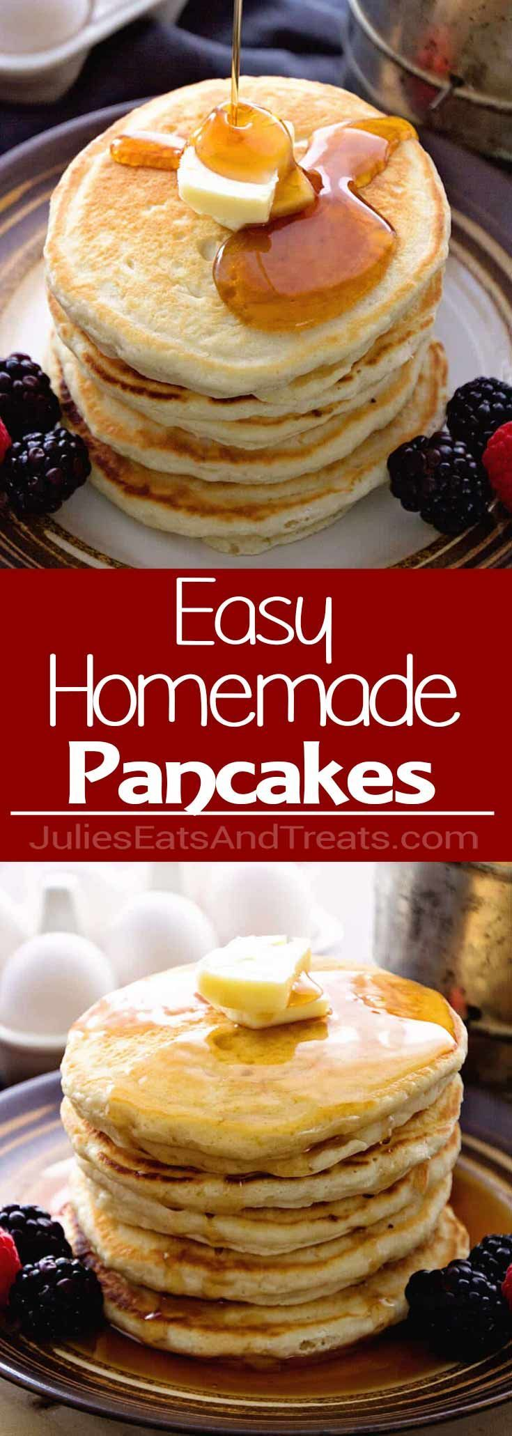 Easy Homemade Pancakes Recipe ~ Light, Fluffy, Delicious Pancakes Recipe Made with Pantry Staples that You Will Have in your House! Never go back to Pancake Mix! via @julieseats