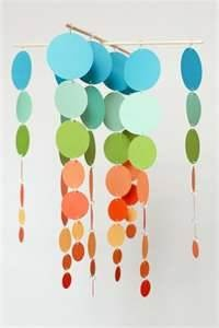 Paint Chip Crafts - fun, colorful mobile...  Wonder if I could weatherproof it and hang outside?  :)