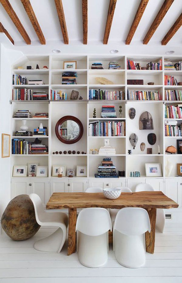 Wall to wall, floor to ceiling built in book shelves. Imagine how many books you could fit here!