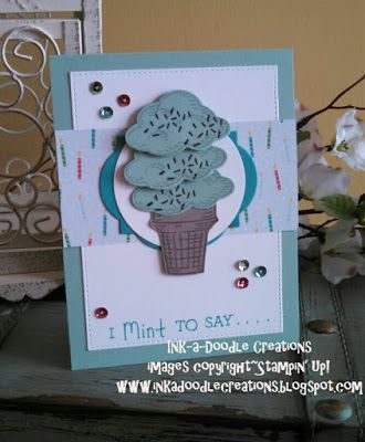 Stampin Up sprinkles of life, ink a doodle creations, stylin stampin inkspiration, ice cream, handmade cards