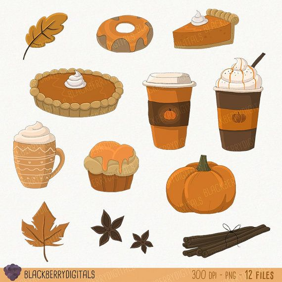 Pumpkin Spice Clipart Set pumpkin clip art by BlackberryDigitals