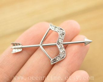 cute industrial bar piercing