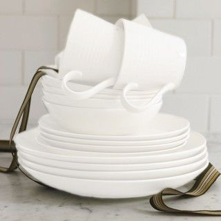 @Overstock - Set includes: Four (4) dinner plates, four (4) salad plates, four (4) all-purpose bowls, four (4) mugs  Material: Stoneware  Color: Whitehttp://www.overstock.com/Home-Garden/Gordon-Ramsay-by-Royal-Doulton-Maze-White-16-piece-Dinnerware-Set/6362426/product.html?CID=214117 CAD              89.00