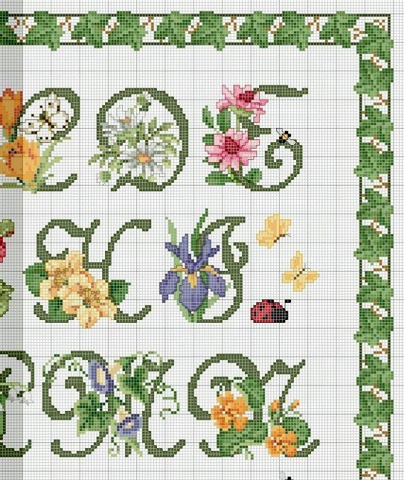 Schema Punto Croce Alfabeto Floreale 1
