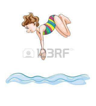 nuotatore: illustrazione di una ragazza di immersione in acqua su uno sfondo bianco