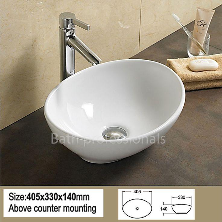 Basin Sink Bathroom Bowl Countertop Ceramic White Cloakroom Corner Oval Tap KN2