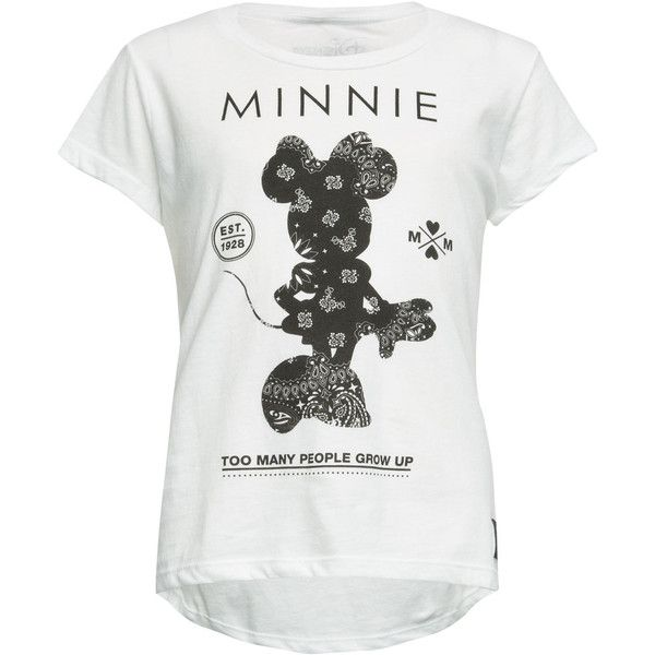 Neff Disney Collection Minnie Bandana Womens Tee ($16) ❤ liked on Polyvore featuring tops, t-shirts, shirts, white, white t shirts, white cotton t shirts, graphic design t shirts, white tee ve white crew neck t shirt