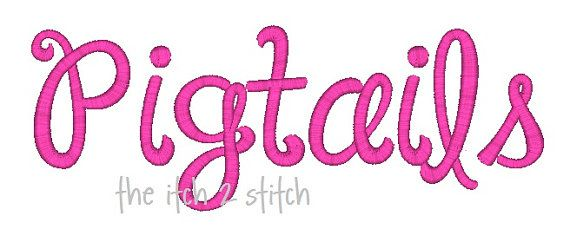 """Janda Happy Day (formally Pigtails) Machine Embroidery  Font  1"""", 1.5"""" & 2"""" (upper and lower A-Z). $5.99, via Etsy."""