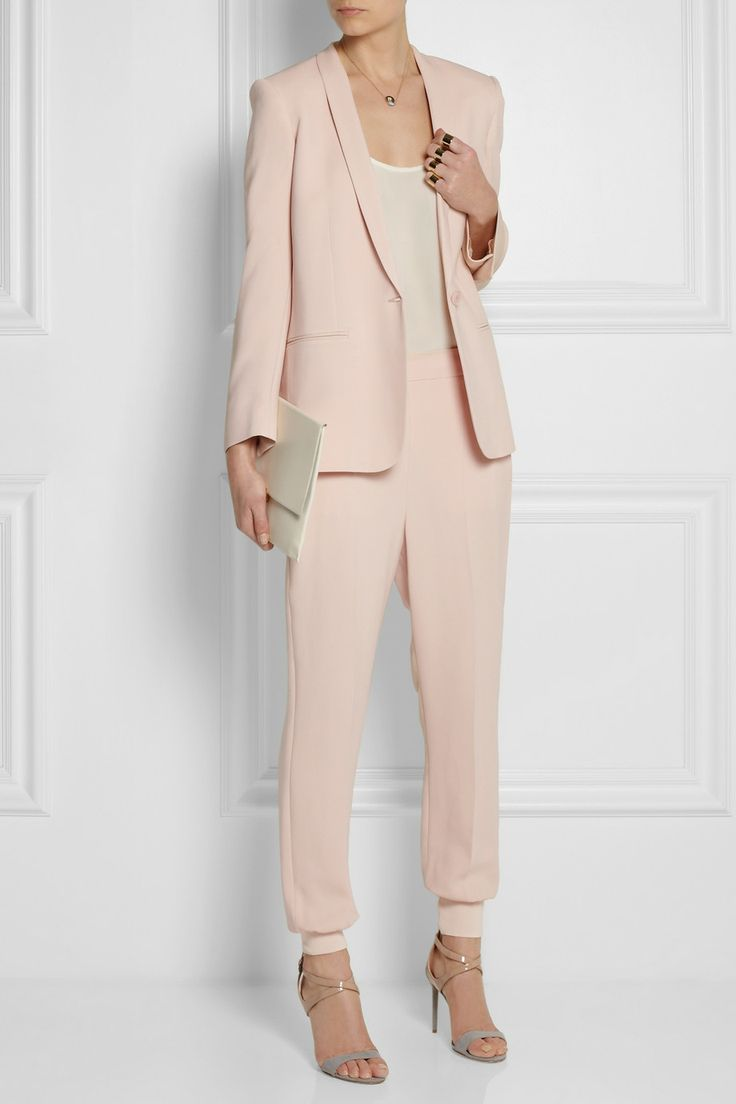 Stella McCartney|Mattea stretch-cady blazer, clutchand pants, Equipment top, and Reed Krakoff shoes.