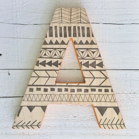 Decorative Wood Wall Letter, Hanging Wall Letter, Tribal Baby, Tribal  Nursery, Initial