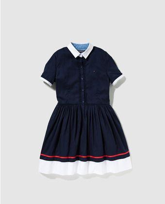 Vestido camisero de niña Tommy Hilfiger azul marino