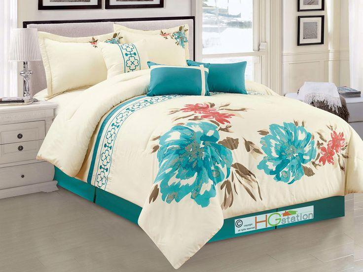 Acuarela Floral Flor Trébol bordado 7-Pc Conjunto de Edredón Cerceta Azul Reina | Hogar y jardín, Ropa de cama, Edredones y juegos | eBay!