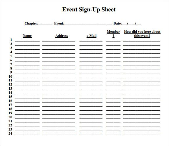 Event Sign Up Sheet Template Sign In Sheet Template Event Sign
