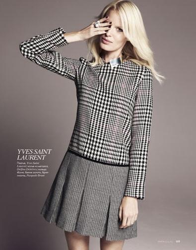 via Elle     #houndsooth #herringbone #dress #skirt #fashion #editorial #elle #model