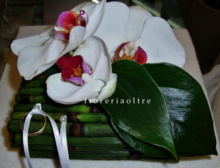 Fioreria Oltre/ Wedding ceremony/ Floral ring bearer pillow/ White phlaenopsis orchids