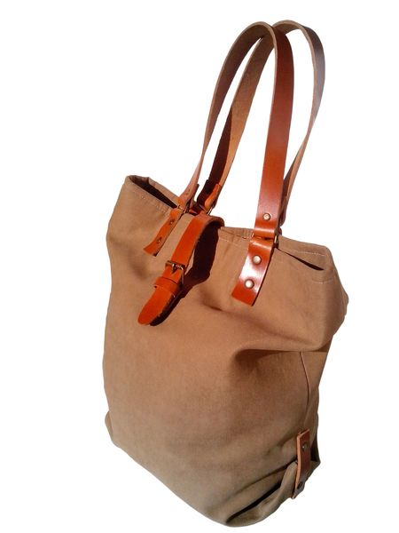 Camel Tote Bag / Shoulder Strap Leather / Tote Bag 13sferas Designs DaWanda.com