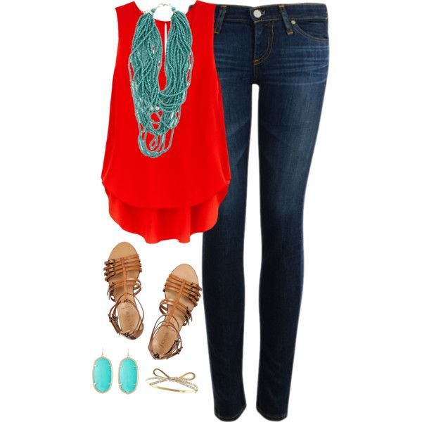 Go bright with your favorite blue jeans and a hot red top! Aim for cute summer outfits like the one above