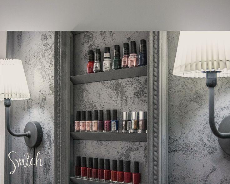 Nail polish shelves.