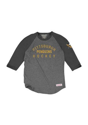 Mitchell and Ness Pitt Penguins Mens Grey Team Issued Fashion Tee