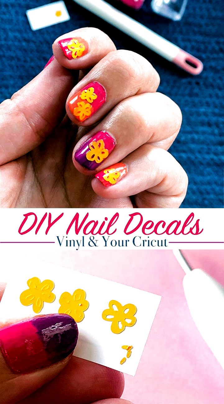 Easy diy floral nail decals with vinyl and cricut 100