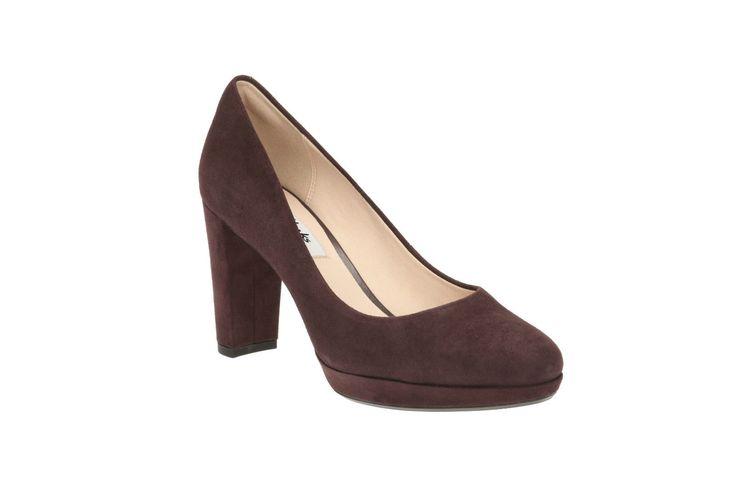 Clarks Womens Kendra Sienna Plum Suede Smart Court Shoe