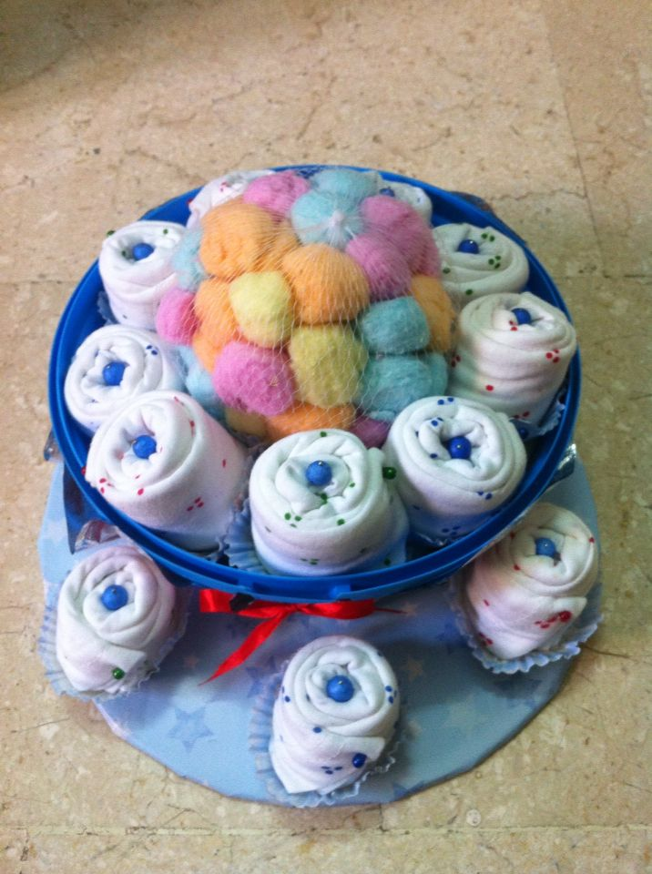 Cupcakes..made from baby trousers..