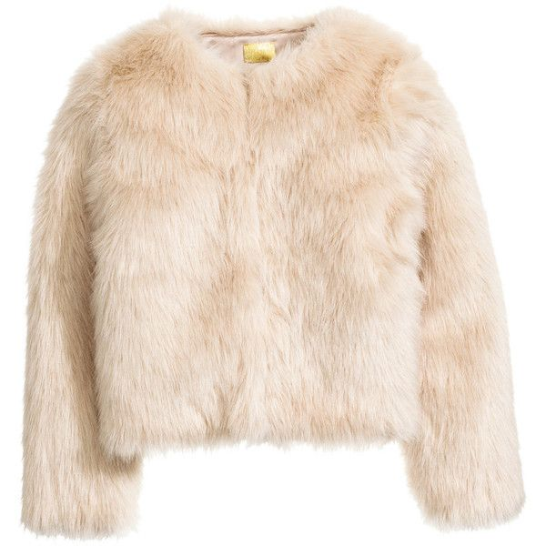 Faux Fur Jacket $79.99 ($80) ❤ liked on Polyvore featuring outerwear, jackets, coats, beige jacket, faux fur lined jacket, short-sleeve jackets, fleece-lined jackets and faux fur short jacket