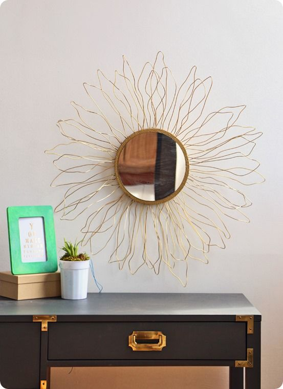 DIY Home Decor   Anthropologie Knock Off Gold Sunburst Mirror ~ This is so simple to make but looks so expensive!