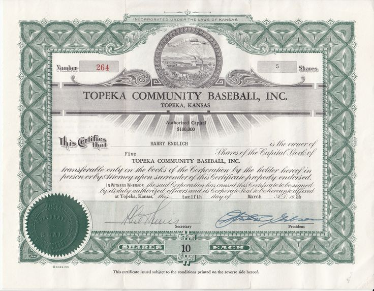 Share certificate, 1956. Topeka Community Baseball, Inc. was chartered in January 1956 to establish a minor league team in Topeka after a one-year hiatus. Cost per share: $10. The team, the Topeka Hawks, competed in the Western League in 1956. (Topeka & Shawnee County Public Library-Topeka Room Collection.)