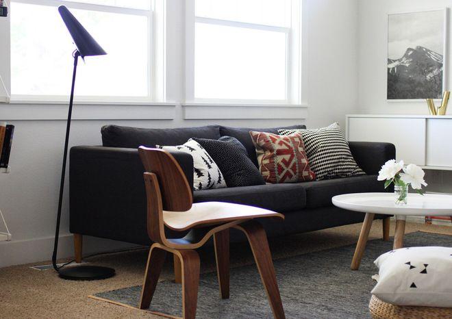 ikea leather stockholm sofa | Houzz Tour: Black and White in Idaho