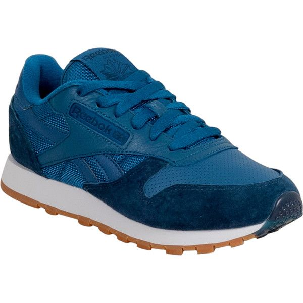Reebok Classic Leather SPP Blue/Red Women's Low-Top Sneaker ($75) ❤ liked on Polyvore featuring shoes, sneakers, blue, low profile sneakers, red leather shoes, red sneakers, red shoes and reebok trainers